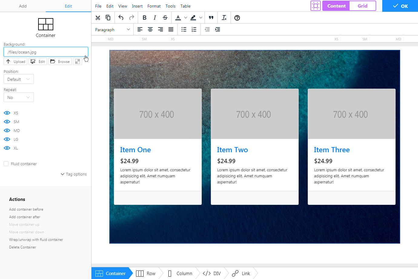 Bootstrap Editor TinyMCE add-on