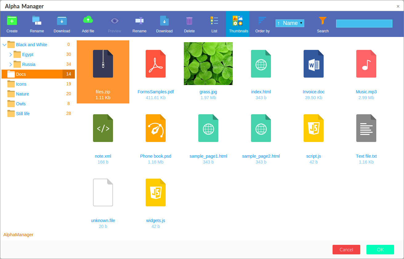 File Manager file types screenshot