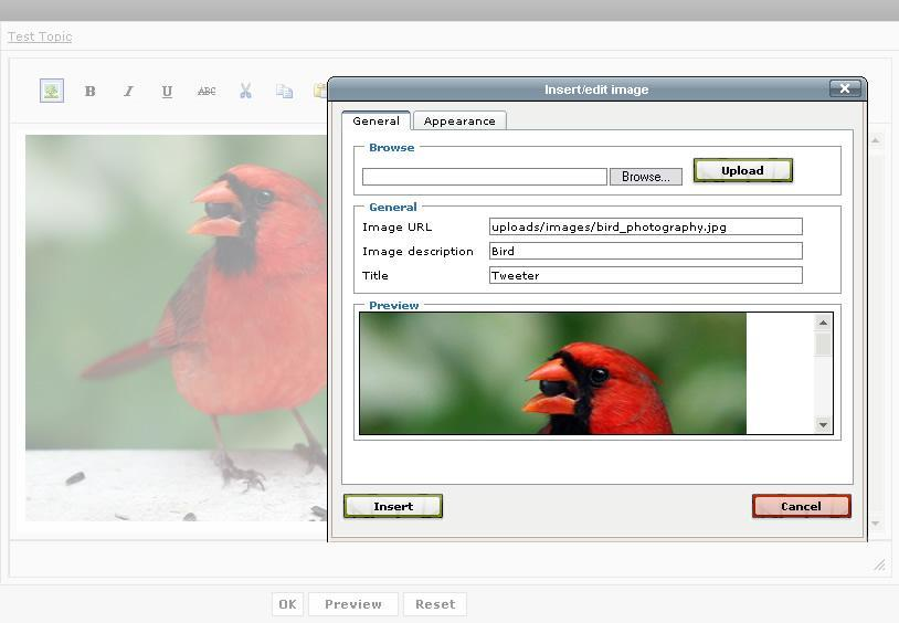 PHP Image Upload plugin screenshot
